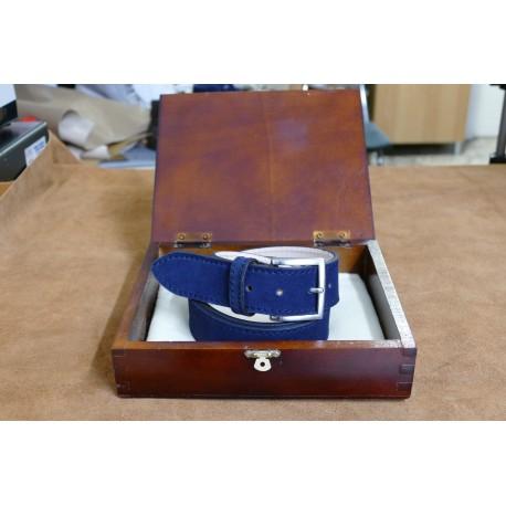 Cintura in cuoio colore Blu