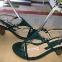 Sandali in pelle scamosciata turchese